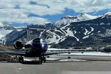 Telluride Regional Airport ramp with mountains
