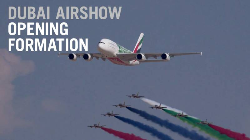 Watch the Massive UAE Air Force and Emirates A380 Flypast at the Dubai Airshow - AIN